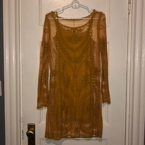Mustard Yellow long sleeve dress with slip